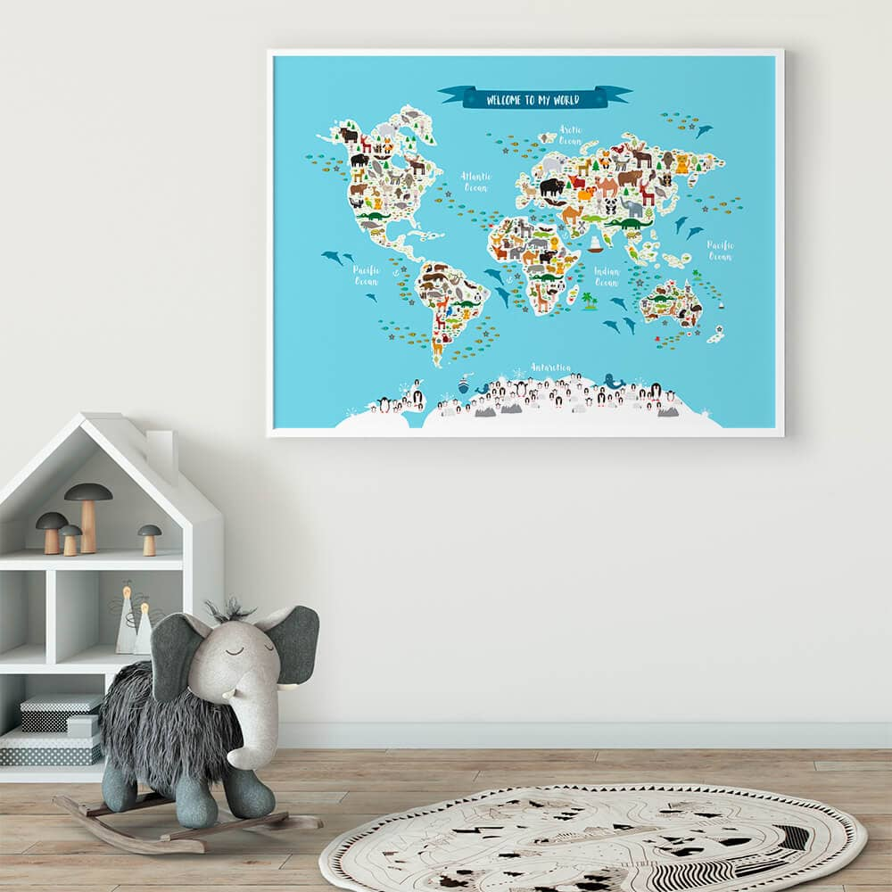 world animal map nursery 1000x1000