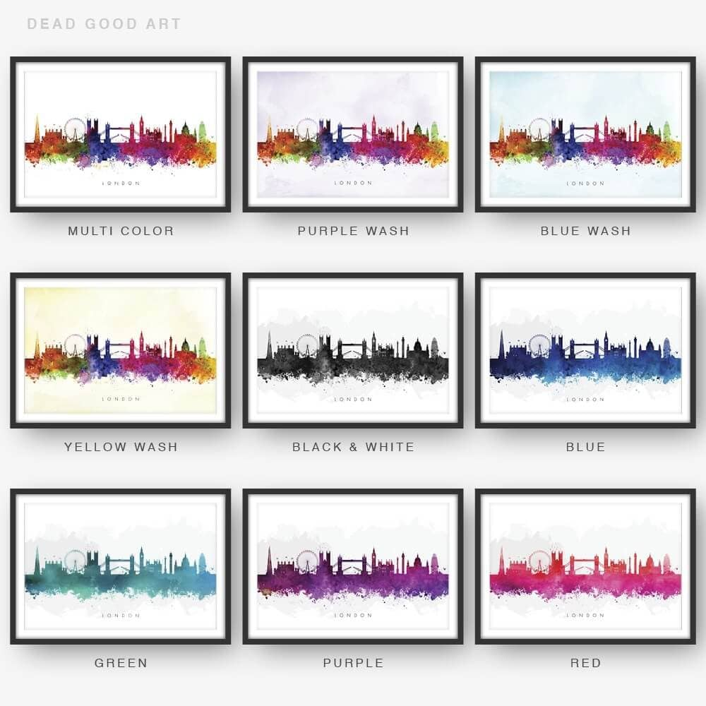 London skyline watercolor print 9 options