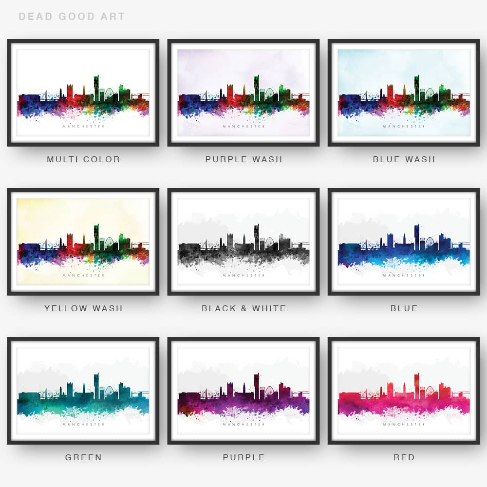 Manchester skyline watercolor print 9 options