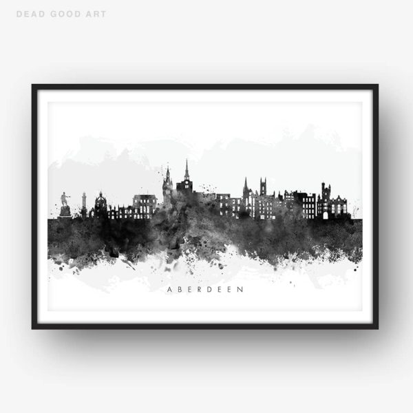 aberdeen skyline black white watercolor print