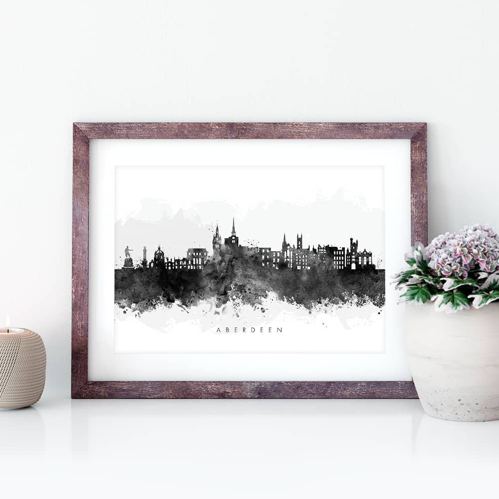 aberdeen skyline black white watercolor print closeup