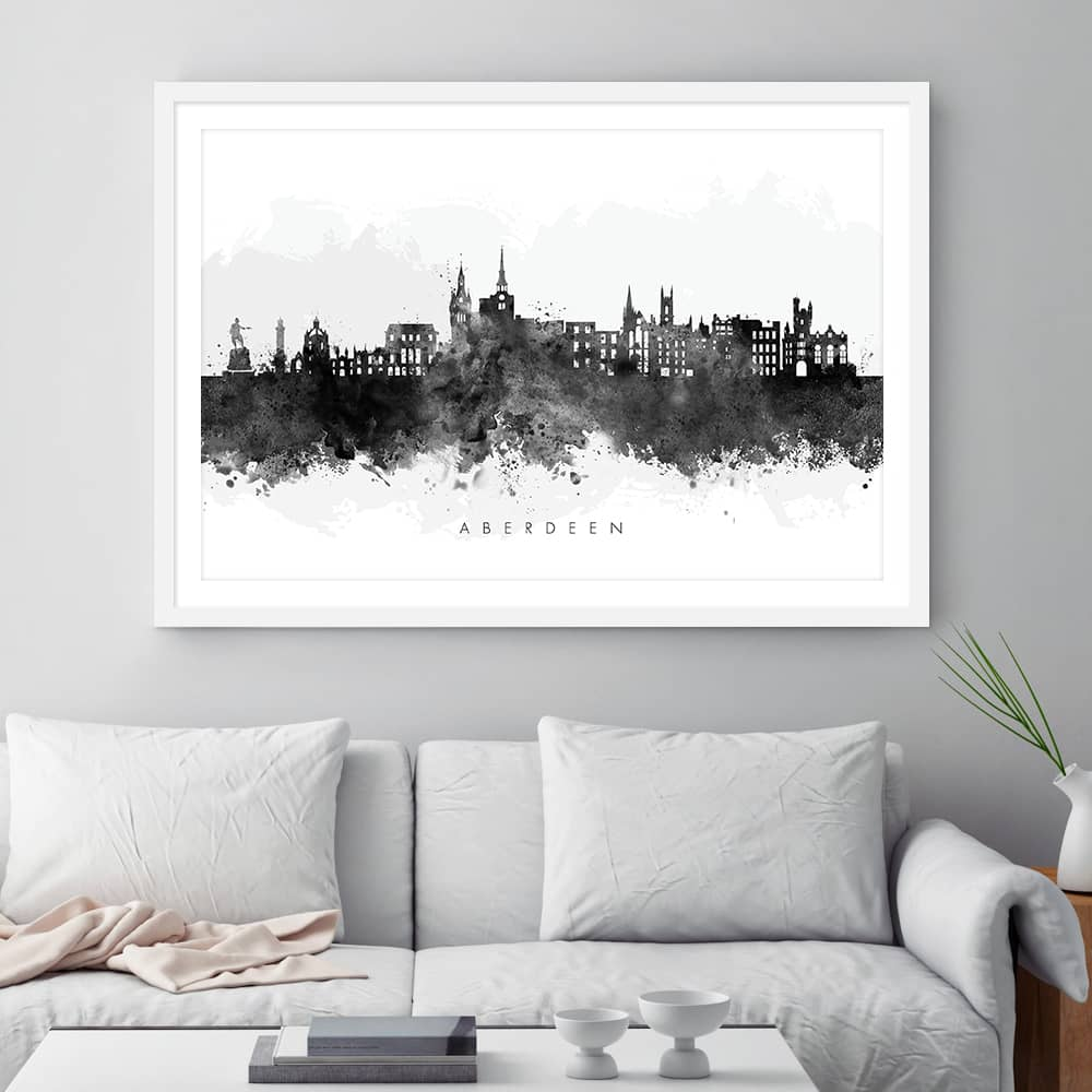 aberdeen skyline black white watercolor print framed