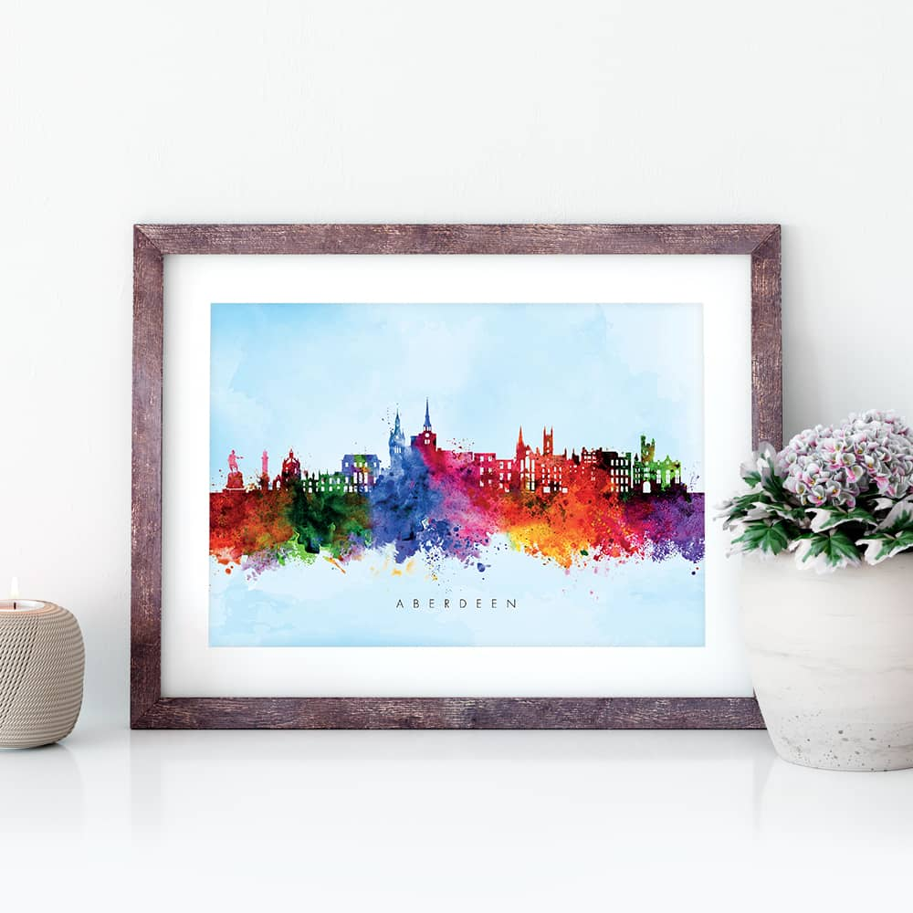 aberdeen skyline blue wash watercolor print closeup