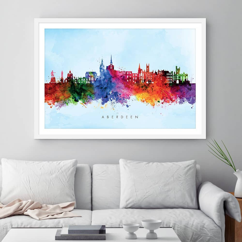 aberdeen skyline blue wash watercolor print framed