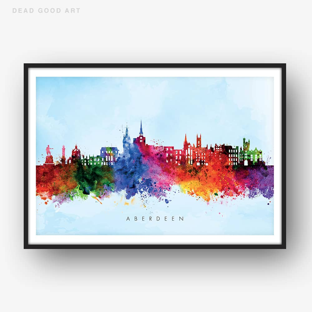 aberdeen skyline blue wash watercolor print