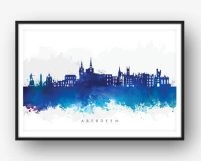 aberdeen skyline blue watercolor print