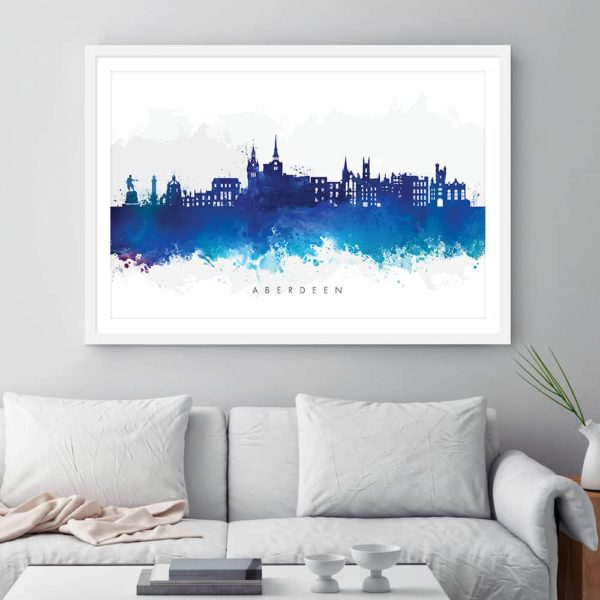 aberdeen skyline blue watercolor print framed