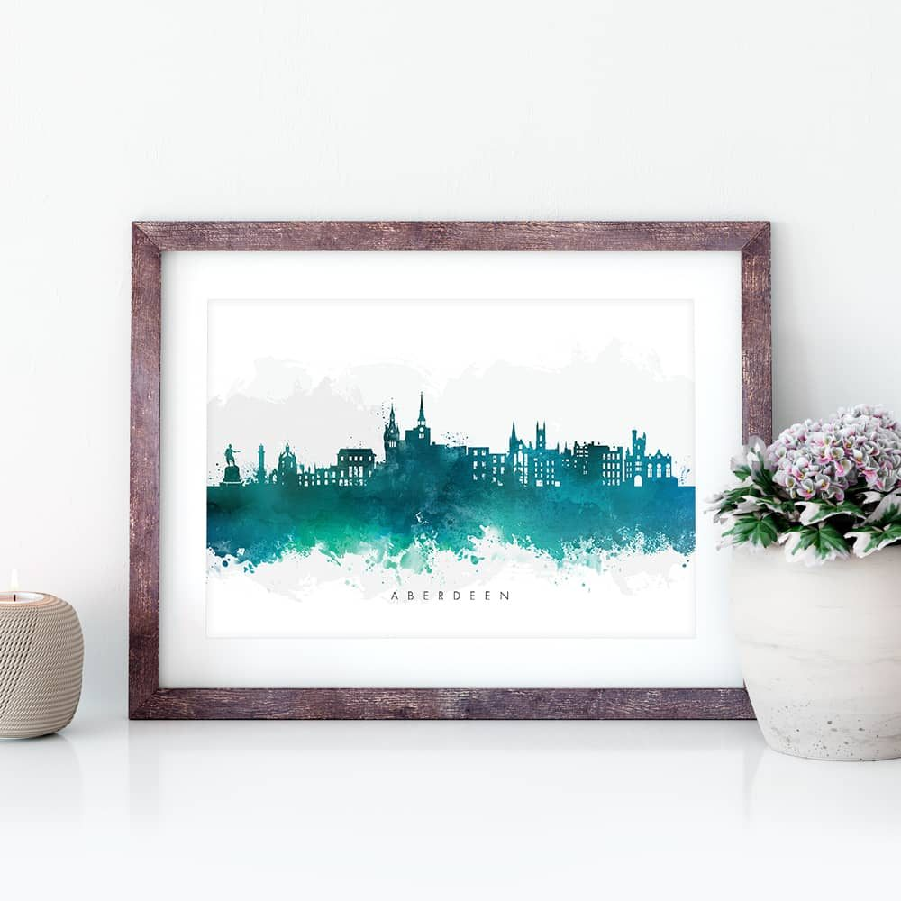 aberdeen skyline green watercolor print closeup
