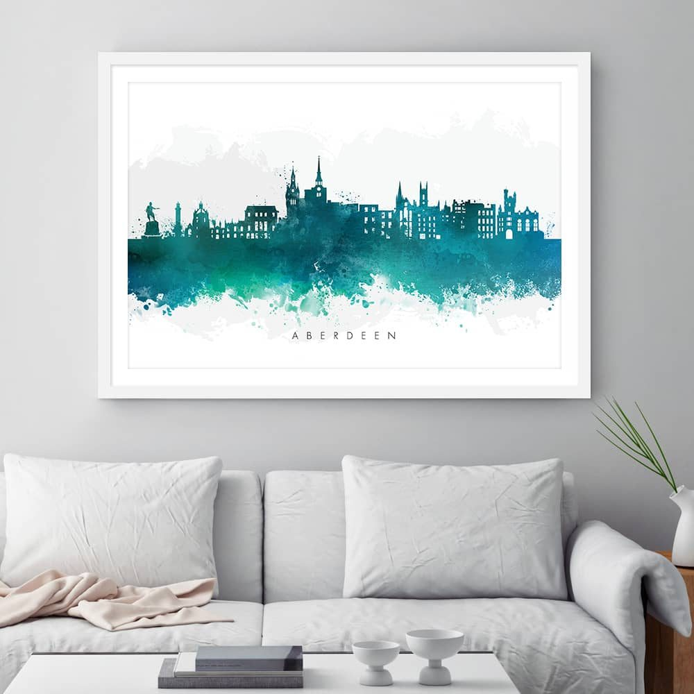 aberdeen skyline green watercolor print framed