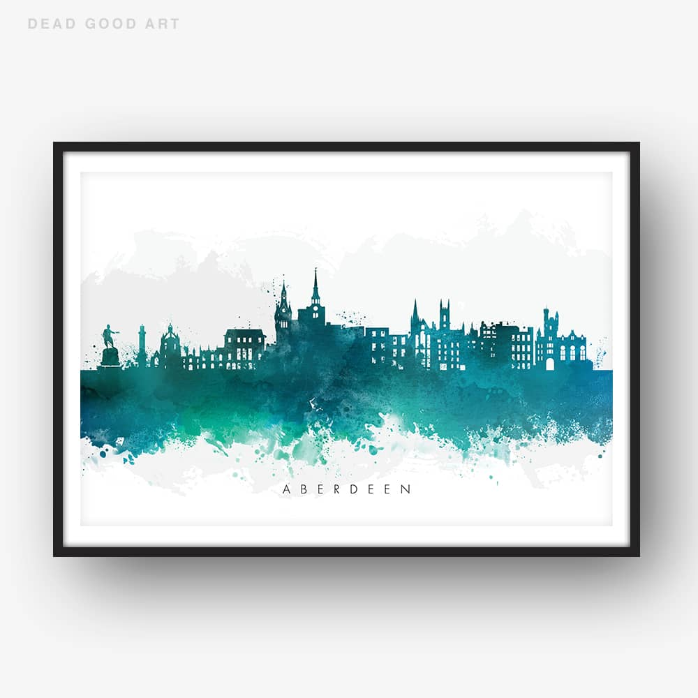 aberdeen skyline green watercolor print