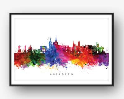 aberdeen skyline multi color watercolor print