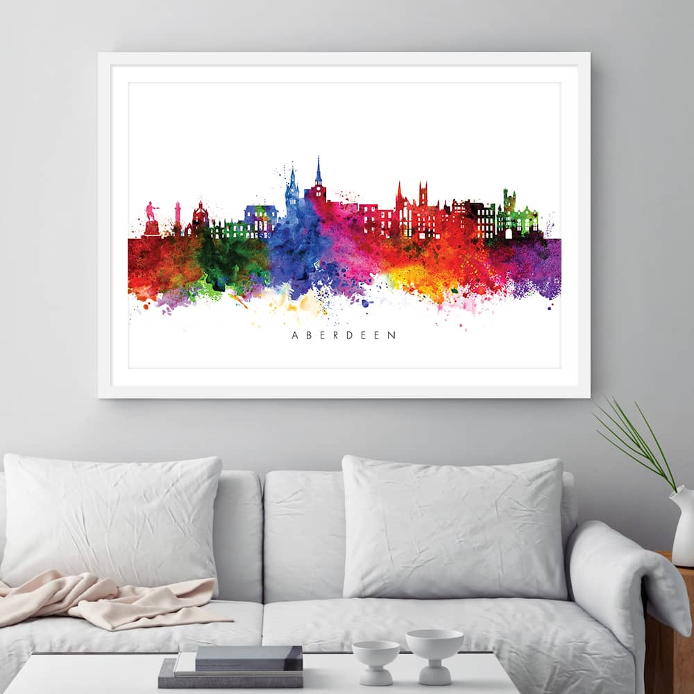 aberdeen skyline multi color watercolor print framed