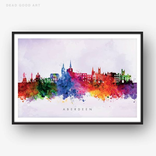 aberdeen skyline purple wash watercolor print