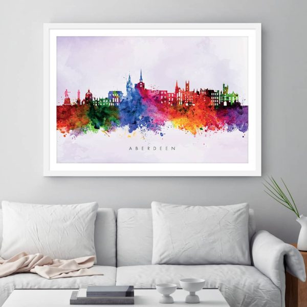 aberdeen skyline purple wash watercolor print framed
