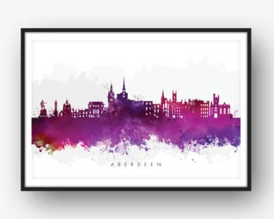 aberdeen skyline purple watercolor print