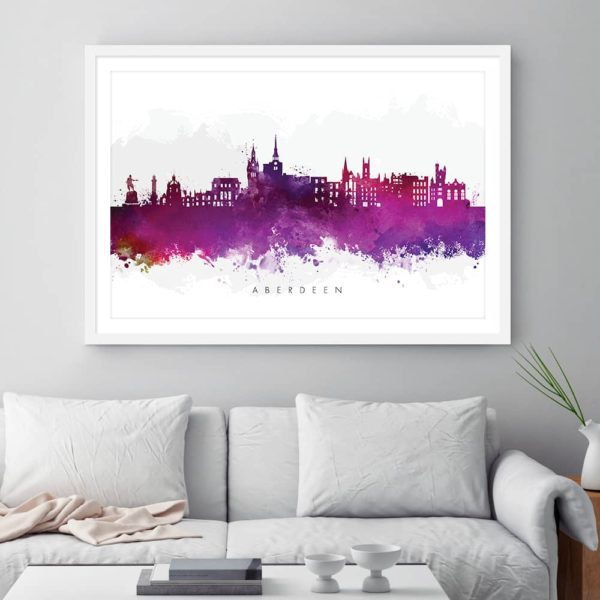 aberdeen skyline purple watercolor print framed