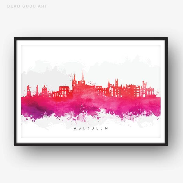 aberdeen skyline red watercolor print