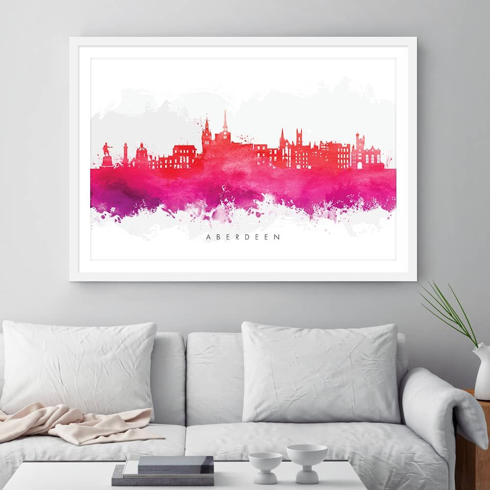 aberdeen skyline red watercolor print framed