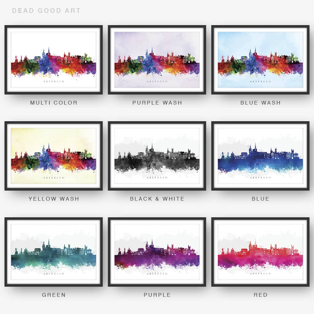 aberdeen skyline watercolor print 9 options