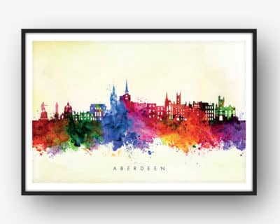 aberdeen skyline yellow wash watercolor print