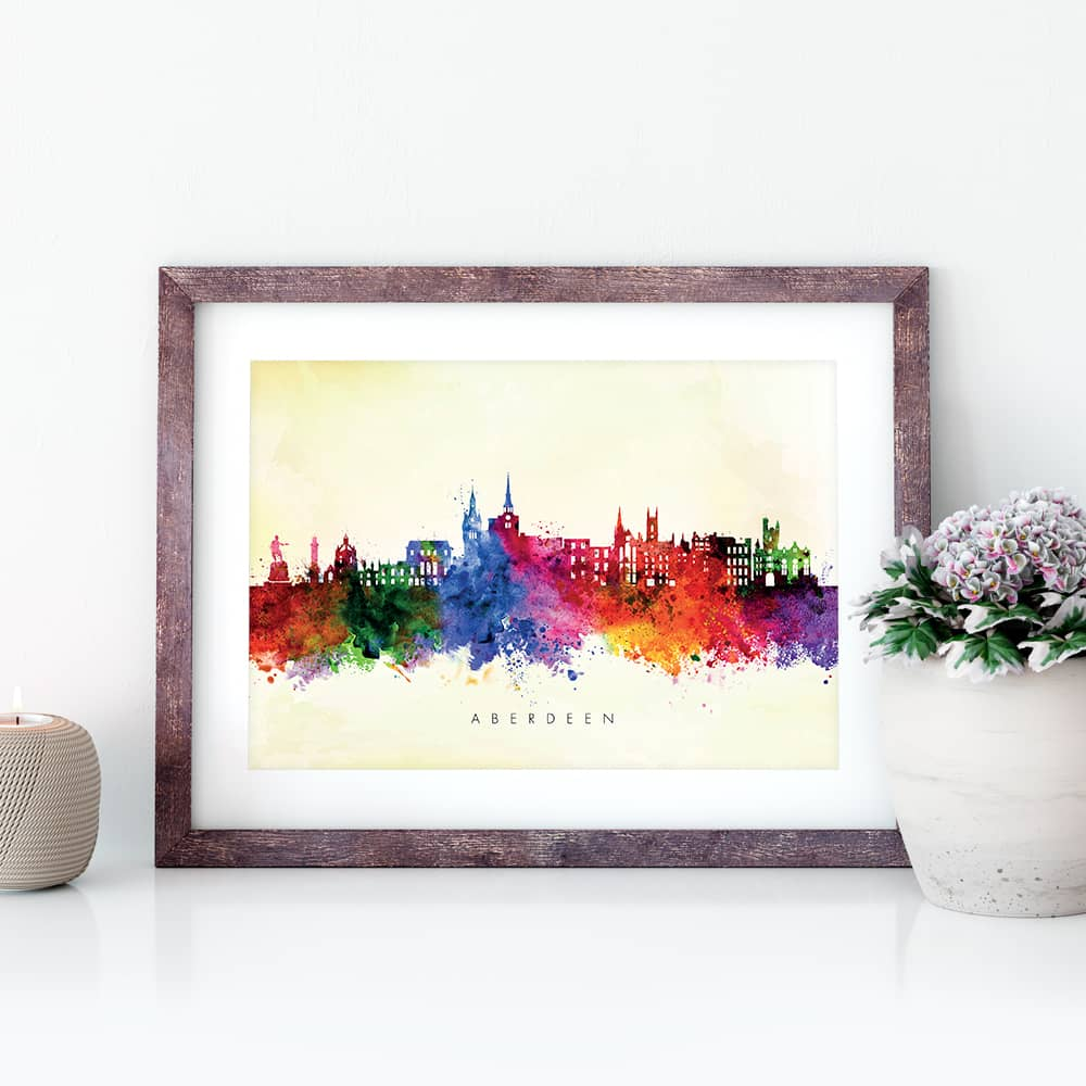 aberdeen skyline yellow wash watercolor print closeup