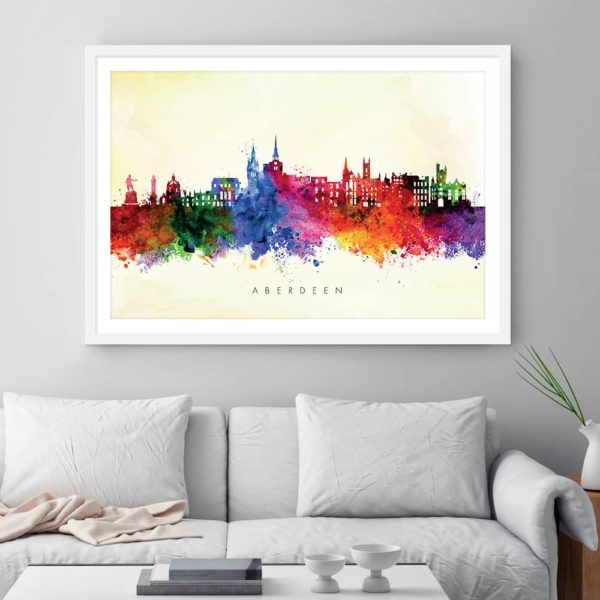aberdeen skyline yellow wash watercolor print framed