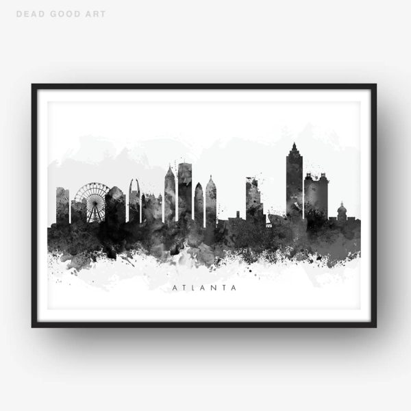 atlanta skyline black white watercolor print
