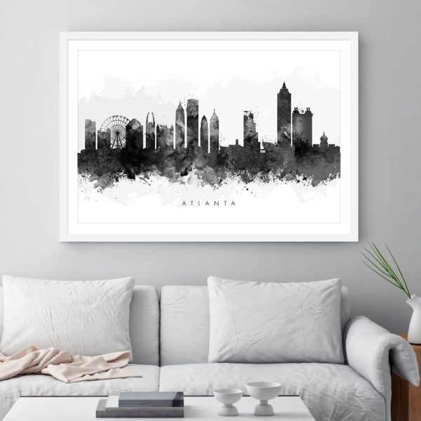 atlanta skyline black white watercolor print framed