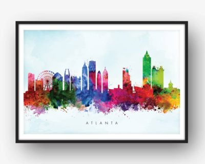 atlanta skyline blue wash watercolor print