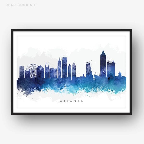 atlanta skyline blue watercolor print