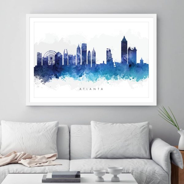 atlanta skyline blue watercolor print framed