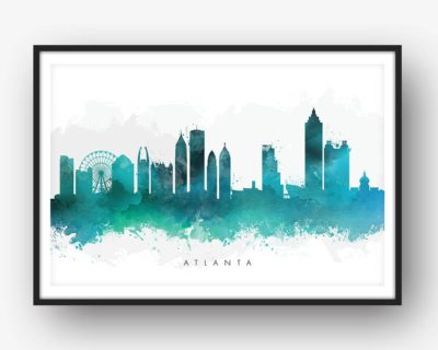 atlanta skyline green watercolor print