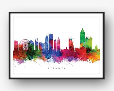 atlanta skyline multi color watercolor print