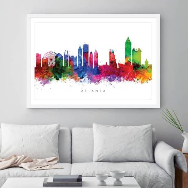 atlanta skyline multi color watercolor print framed