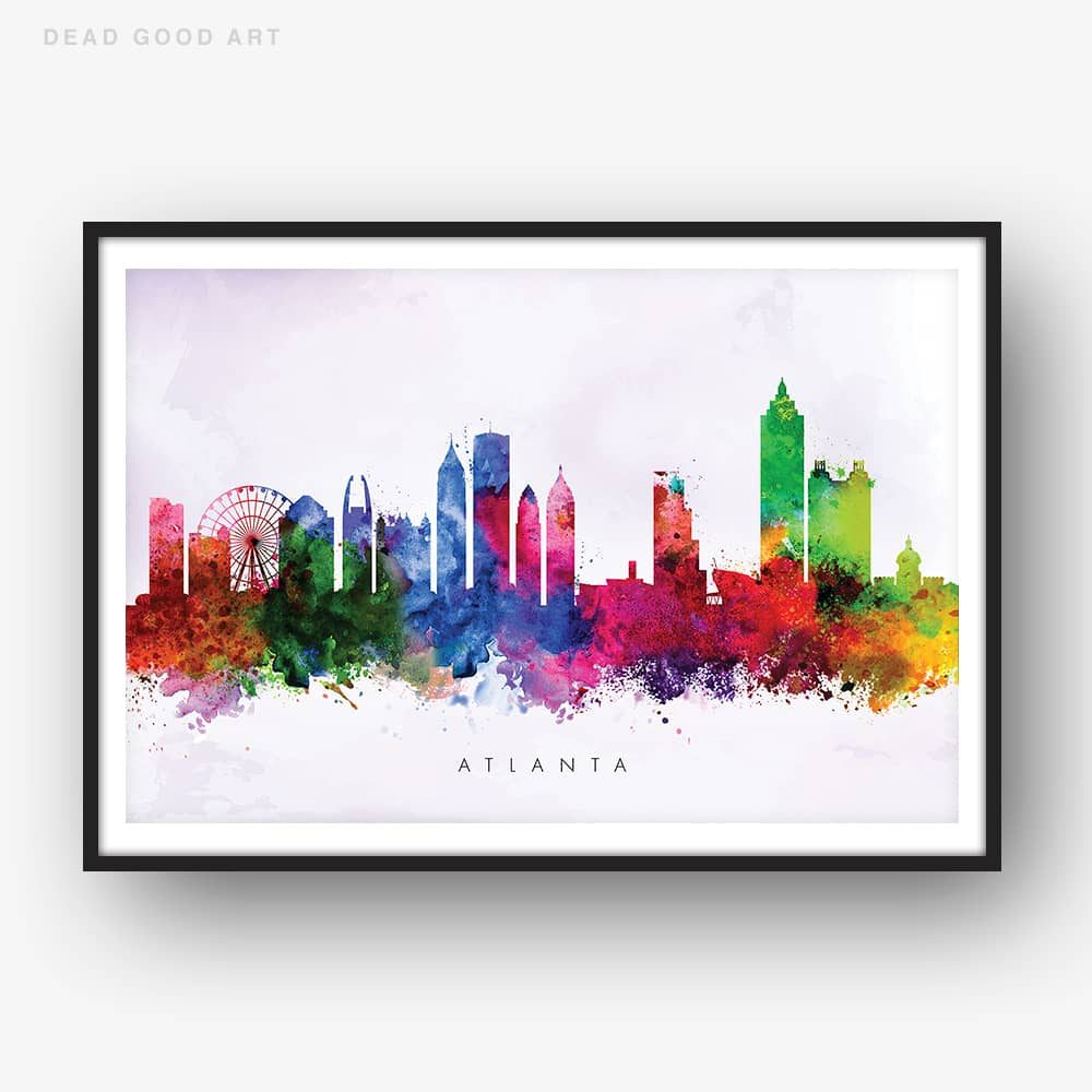 atlanta skyline purple wash watercolor print