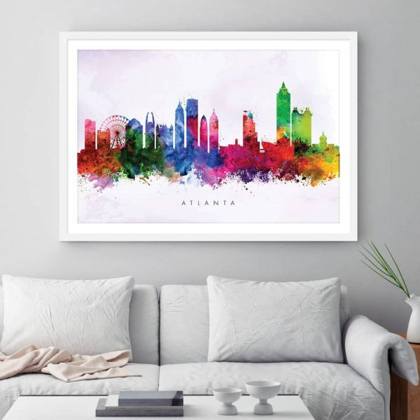 atlanta skyline purple wash watercolor print framed