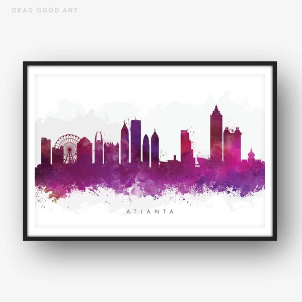 atlanta skyline purple watercolor print