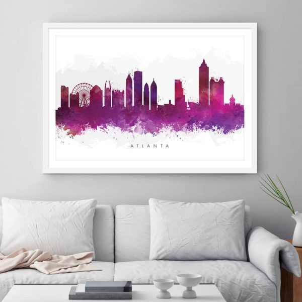 atlanta skyline purple watercolor print framed