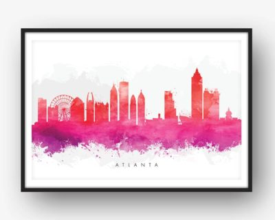 atlanta skyline red watercolor print
