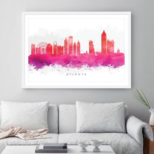 atlanta skyline red watercolor print framed