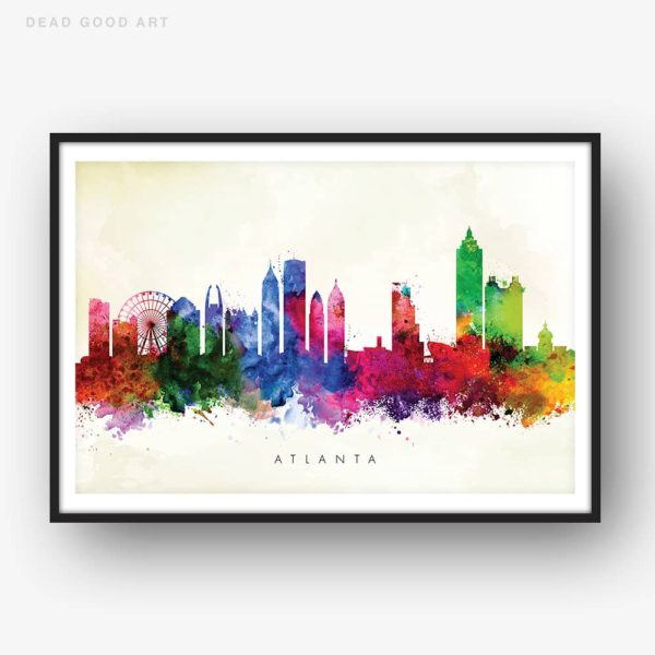 atlanta skyline yellow wash watercolor print