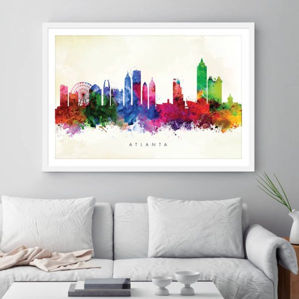 atlanta skyline yellow wash watercolor print framed