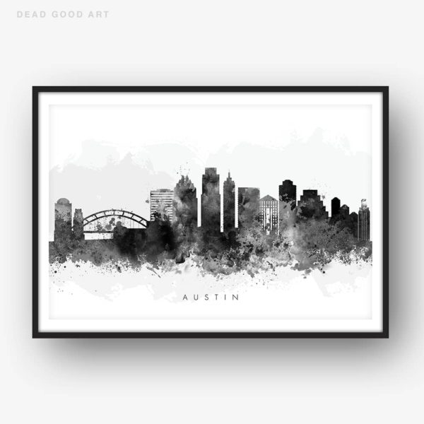 austin skyline black white watercolor print