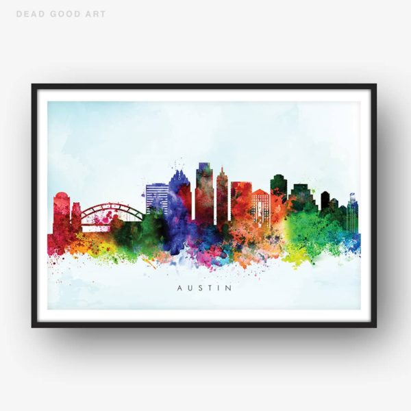 austin skyline blue wash watercolor print