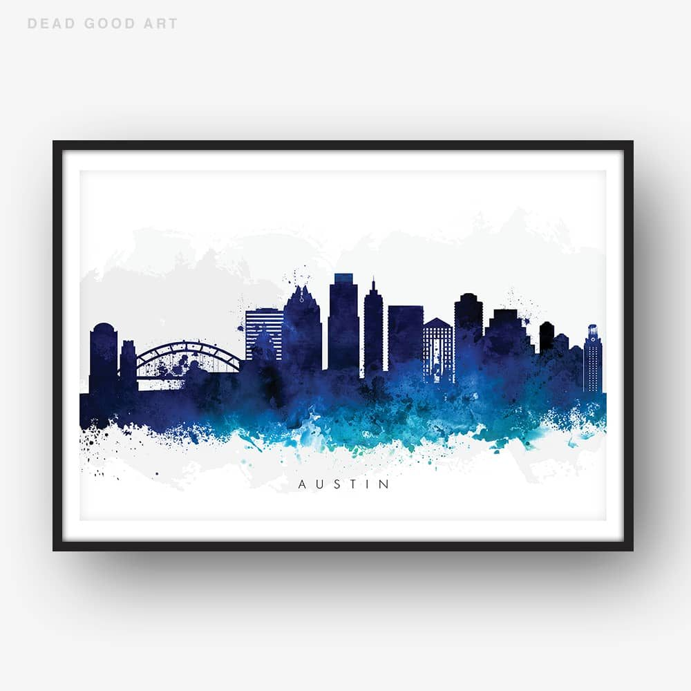 austin skyline blue watercolor print