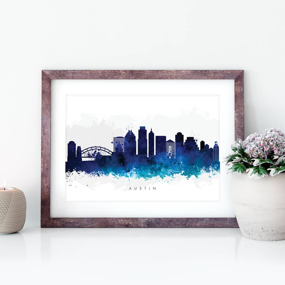 austin skyline blue watercolor print closeup