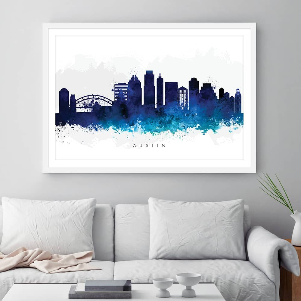 austin skyline blue watercolor print framed