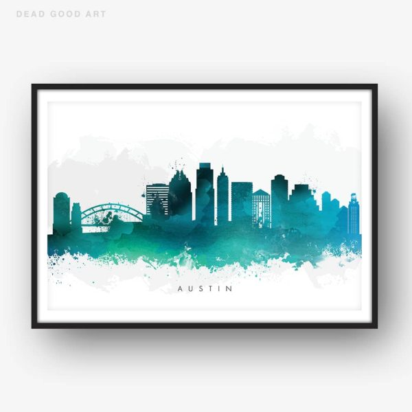 austin skyline green watercolor print