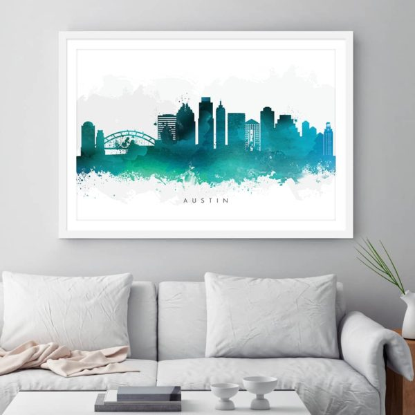 austin skyline green watercolor print framed