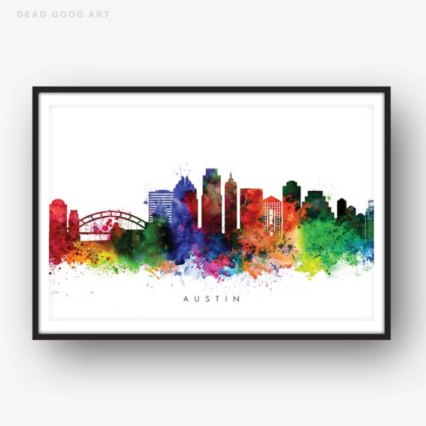 austin skyline multi color watercolor print